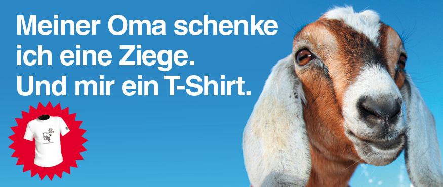 Meiner Oma schenke ich eine Ziege. Und mir ein T-Shirt.