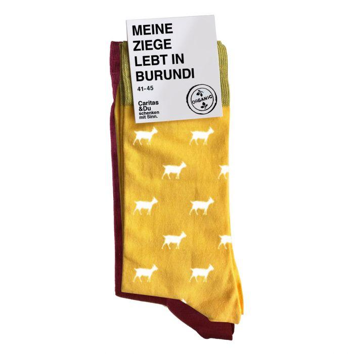 Ziegensocken 2er Pack bordeaux-rot und gelb